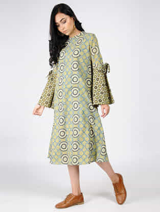 Green-Blue Natural-dyed Ajrakh-printed Cotton Dress