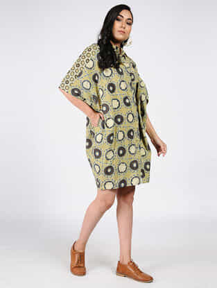 Green-Charcoal Natural-dyed Ajrakh-printed Cotton Dress