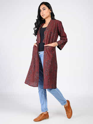Maroon Natural-dyed Ajrakh-printed Cotton Overlay