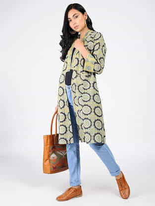 Green-Yellow Natural-dyed Ajrakh-printed Cotton Overlay