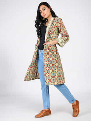 Beige-Red Natural-dyed Ajrakh-printed Cotton Overlay