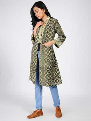 Charcoal-Green Natural-dyed Ajrakh-printed Cotton Overlay