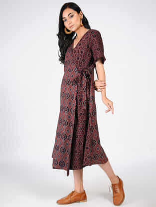 Maroon Natural-dyed Ajrakh-printed Cotton Dress