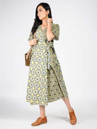 Green-Yellow Natural-dyed Ajrakh-printed Cotton Dress