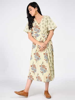 Yellow-Blue Natural-dyed Ajrakh-printed Cotton Dress