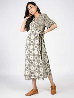 Grey Natural-dyed Ajrakh-printed Cotton Dress