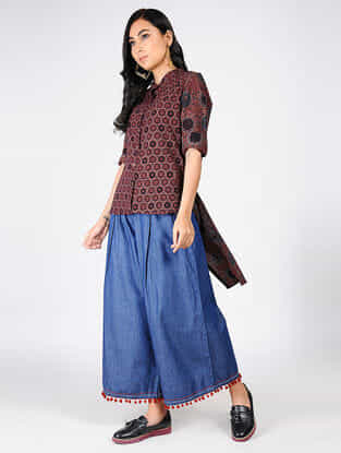 Maroon Natural-dyed Ajrakh-printed Cotton Top