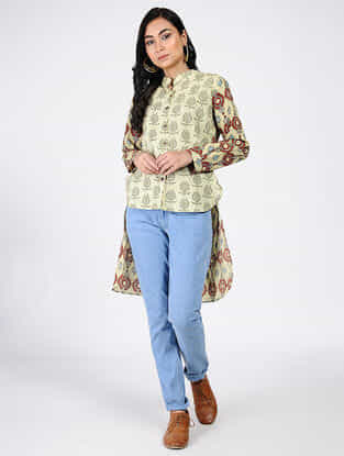 Beige-Red Natural-dyed Ajrakh-printed Cotton Top