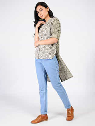 Grey Natural-dyed Ajrakh-printed Cotton Top