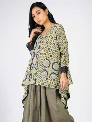 Green Natural-dyed Ajrakh-printed Cotton Top