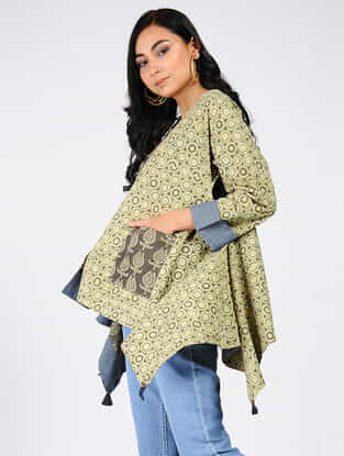 Charcoal-Green Natural-dyed Ajrakh-printed Cotton Top