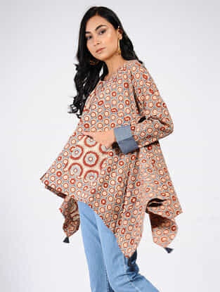 Red-Blue Natural-dyed Ajrakh-printed Cotton Top