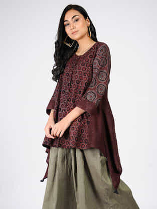 Maroon Natural-dyed Ajrakh-printed Cotton Tunic