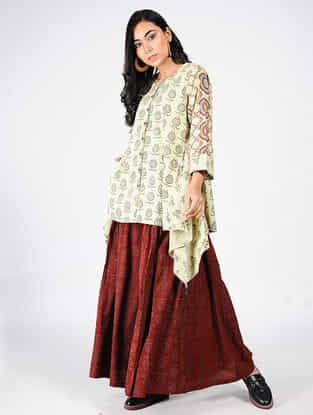 Beige-Green Natural-dyed Ajrakh-printed Cotton Tunic