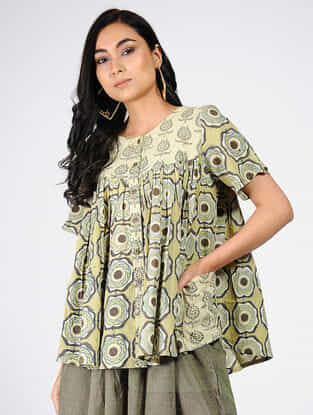 Green-Yellow Natural-dyed Ajrakh-printed Cotton Top