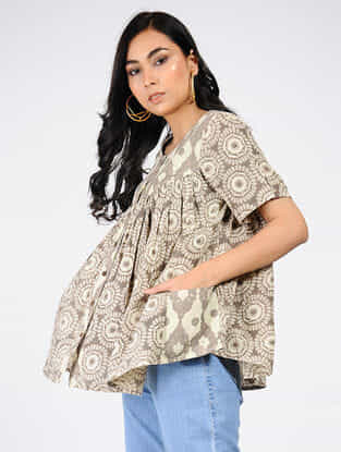 Beige-Grey Natural-dyed Ajrakh-printed Cotton Top