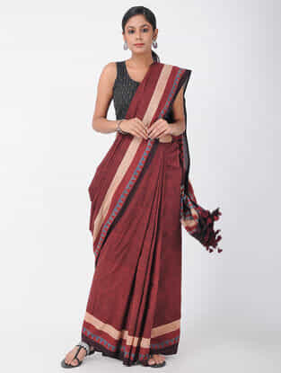 Red-Beige Natural-dyed Ajrakh-printed Cotton Saree with Tassels