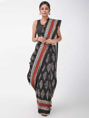 Black-Red Natural-dyed Ajrakh-printed Cotton Saree with Tassels