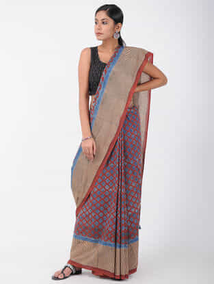 Blue-Red Natural-dyed Ajrakh-printed Cotton Saree with Tassels