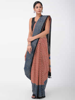 Red-Blue Natural-dyed Ajrakh-printed Cotton Saree with Tassels