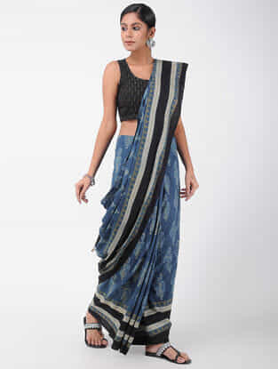 Blue-Black Natural-dyed Ajrakh-printed Cotton Saree with Tassels