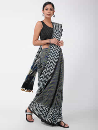 Beige-Blue Natural-dyed Ajrakh-printed Cotton Saree with Tassels