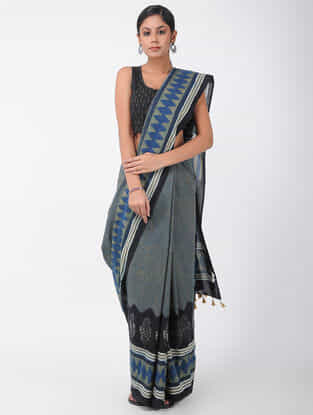 Grey-Blue Natural-dyed Ajrakh-printed Cotton Saree with Tassels