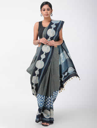 Grey-Black Natural-dyed Ajrakh-printed Cotton Saree with Tassels