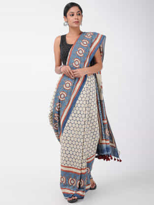 Ivory-Blue Natural-dyed Ajrakh-printed Cotton Saree with Tassels