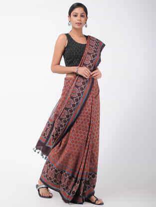 Red-Maroon Natural-dyed Ajrakh-printed Cotton Saree with Tassels