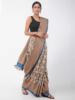 Ivory-Red Natural-dyed Ajrakh-printed Cotton Saree with Tassels