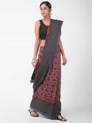 Red-Black Natural-dyed Ajrakh-printed Cotton Saree with Tassels