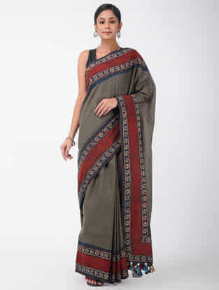 Grey-Red Natural-dyed Ajrakh-printed Cotton Saree with Tassels