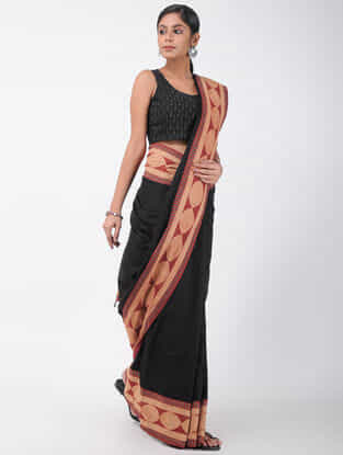 Black-Beige Natural-dyed Ajrakh-printed Cotton Saree with Tassels