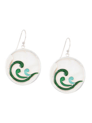 Blue-Green Enameled Silver Earrings with Shells