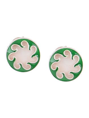 Green Enameled Silver Earrings with Shells