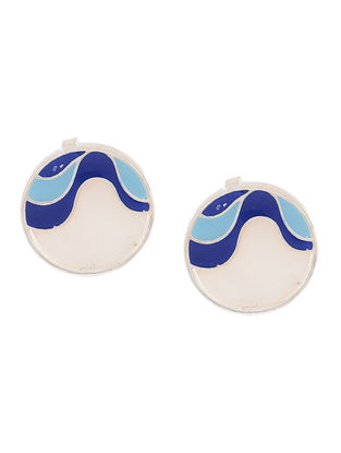 Blue Enameled Silver Earrings with Shells