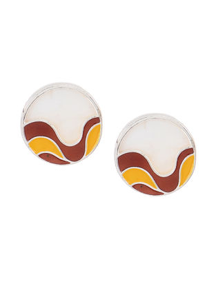 Red-Yellow Enameled Silver Earrings with Shells