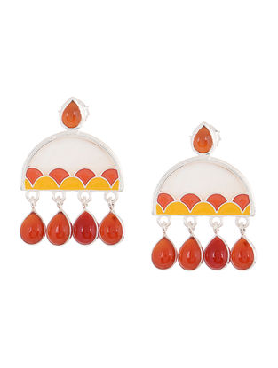 Yellow-Red Enameled Silver Earrings with Shells