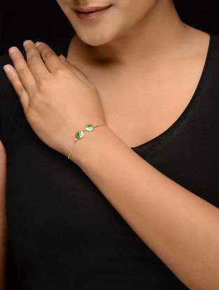 Green Enameled Gold-plated Silver Bracelet