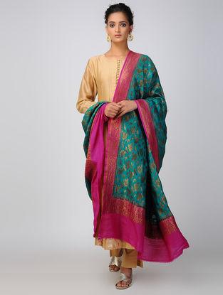 Teal-Pink Benarasi Muga Silk Dupatta