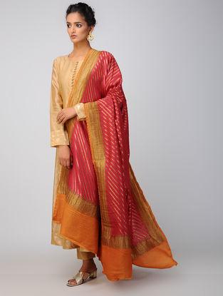 Pink-Orange Benarasi Muga Silk Dupatta