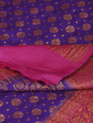 Blue-Pink Benarasi Muga Silk Dupatta