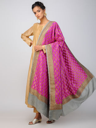 Pink-Grey Benarasi Muga Silk Dupatta