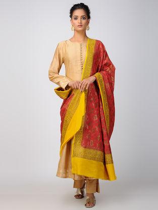 Pink-Yellow Benarasi Muga Silk Dupatta