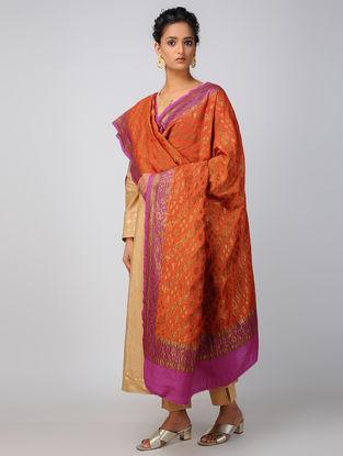 Red-Purple Benarasi Muga Silk Dupatta