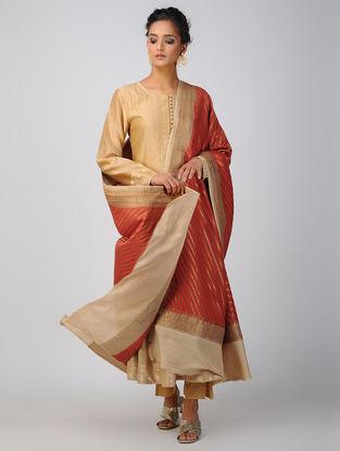 Red-Ivory Benarasi Muga Silk Dupatta