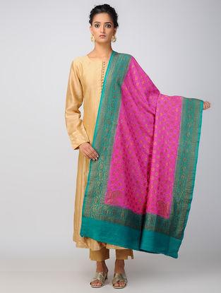 Pink-Green Benarasi Muga Silk Dupatta