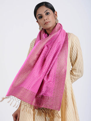 Purple Benarasi Muga Silk Stole