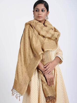 Beige Benarasi Muga Silk Stole